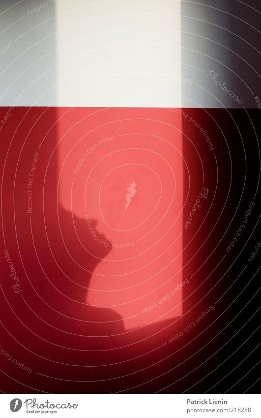 shadow run Frau Mensch weiß rot Wand Fenster Kopf Linie Stimmung Erwachsene Hoffnung nachdenklich Erwartung Rahmen