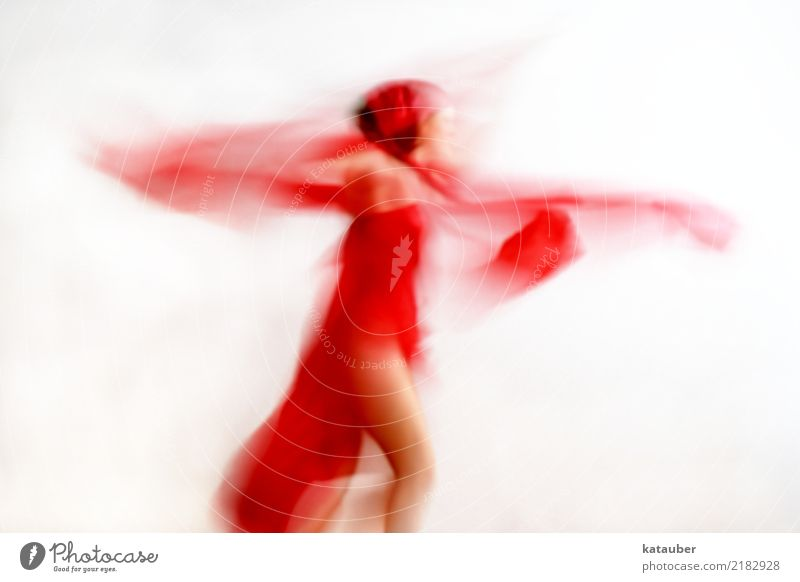 fly away elegant Design Leben harmonisch Sinnesorgane Freiheit Tanzen feminin Junge Frau Jugendliche Körper 1 Mensch 30-45 Jahre Erwachsene Kunst Kleid Stoff