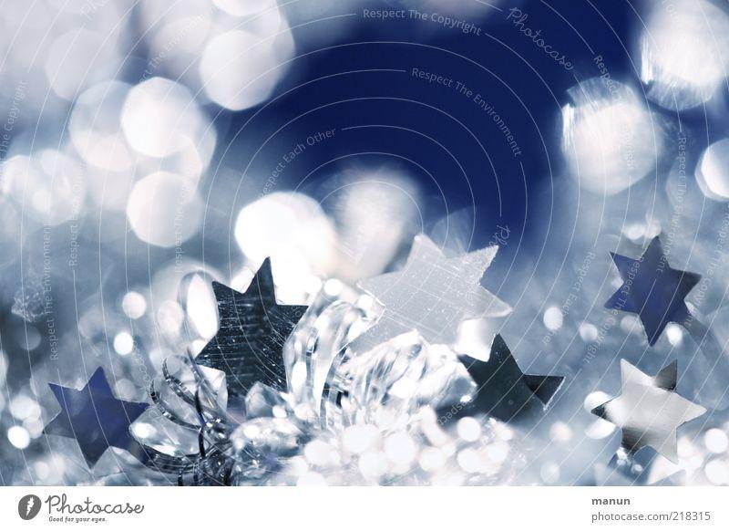 blaue Weihnachtskarte Lifestyle Design Dekoration & Verzierung Feste & Feiern festlich Weihnachtsdekoration Weihnachtsstern Stern (Symbol) Zeichen glänzend