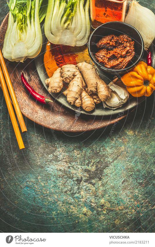Kochzutataen für Asiatische Küche Gesunde Ernährung Foodfotografie gelb Hintergrundbild Stil Lebensmittel Design Tisch Kräuter & Gewürze Gemüse Restaurant