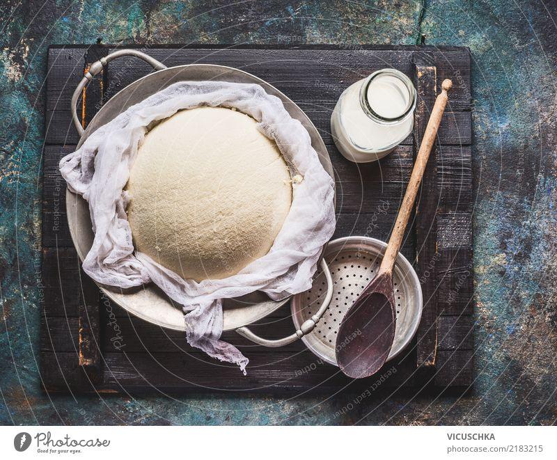 Hausgemachter Frischkäse Gesunde Ernährung Foodfotografie gelb Gesundheit Stil Lebensmittel Design Häusliches Leben Tisch Küche Bioprodukte Geschirr