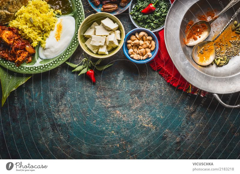 Indisch Essen Gesunde Ernährung Foodfotografie Hintergrundbild Stil Lebensmittel Design Tisch Kräuter & Gewürze Gemüse Bioprodukte Restaurant Getreide Geschirr