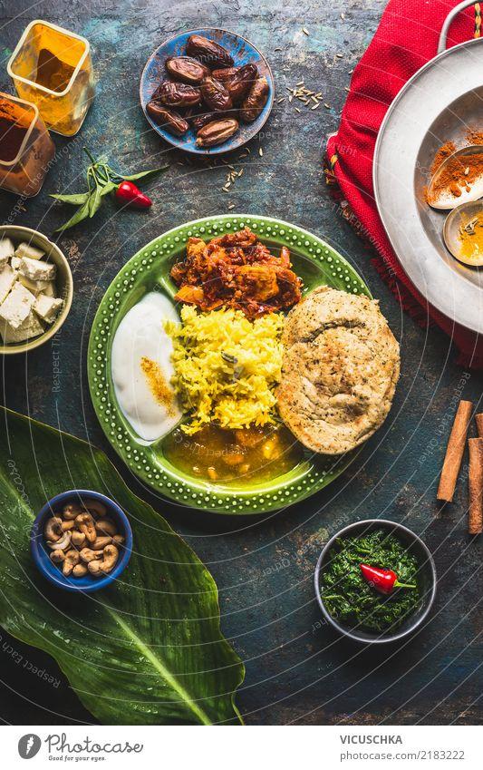 Indisches Essen Lebensmittel Gemüse Getreide Kräuter & Gewürze Ernährung Mittagessen Bioprodukte Vegetarische Ernährung Asiatische Küche Geschirr Teller