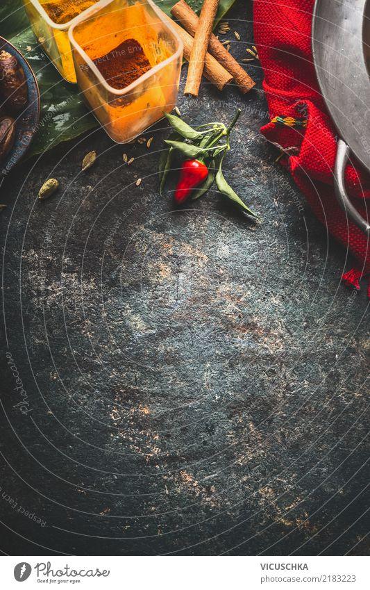 Hintergrund mit bunte Gewürze Lebensmittel Kräuter & Gewürze Ernährung Asiatische Küche Geschirr Stil Design Gesunde Ernährung Restaurant Hintergrundbild Chili