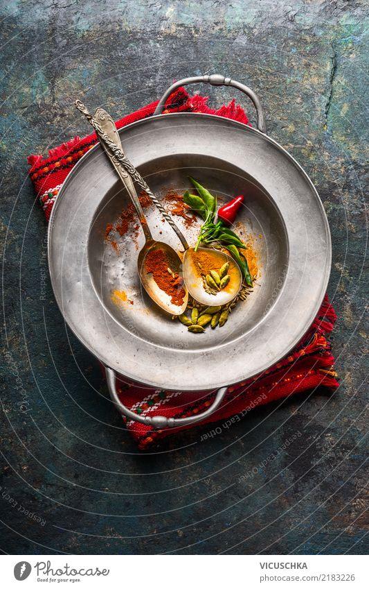 Bunte Gewürze in Löffell Lebensmittel Kräuter & Gewürze Ernährung Bioprodukte Vegetarische Ernährung Diät Asiatische Küche Schalen & Schüsseln Stil Design