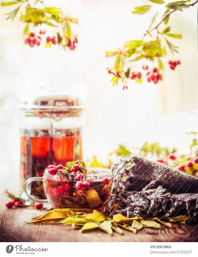 Herbst Tee auf dem Gartentisch Lebensmittel Getränk Heißgetränk Tasse Lifestyle Stil Design Alternativmedizin Gesunde Ernährung Winter Weihnachten & Advent