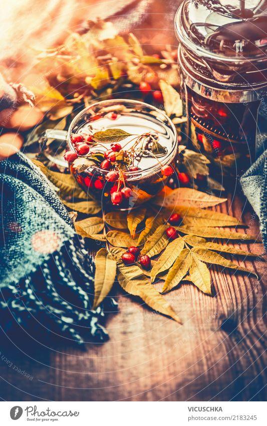 Tasse Tee mit Herbstbeeren Lifestyle Stil Design Alternativmedizin Gesunde Ernährung Leben Häusliches Leben Garten Halloween Natur gelb Stimmung Gesundheit