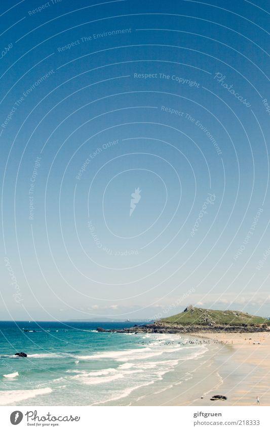 boundless blue Umwelt Natur Landschaft Urelemente Sand Wasser Himmel Wolkenloser Himmel Klima Schönes Wetter Wellen Küste Strand Bucht Meer Insel Sandstrand