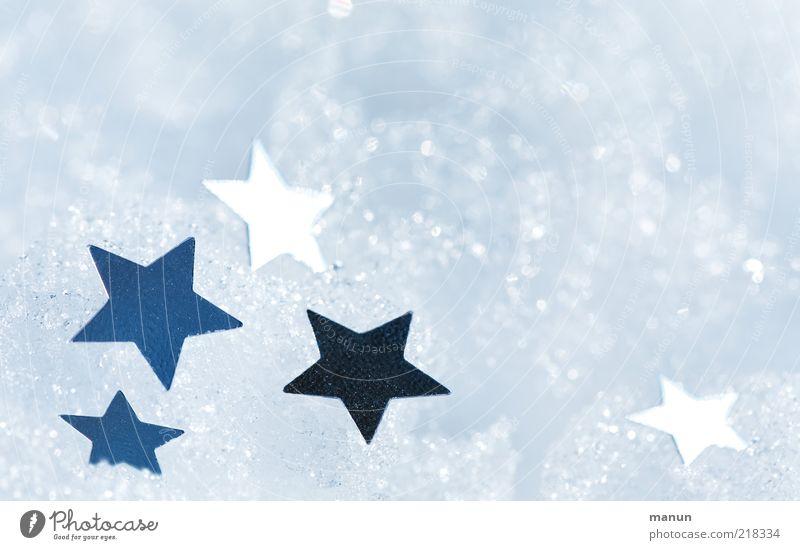 Schneesterne Weihnachten & Advent schön Winter kalt außergewöhnlich Feste & Feiern Stimmung hell glänzend Zufriedenheit leuchten Dekoration & Verzierung Stern (Symbol) Zeichen Kitsch Frieden