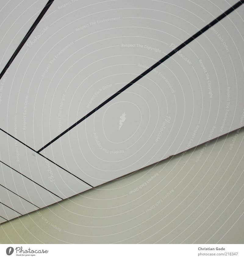 Decke po Pecke weiß Holz Linie Rechteck diagonal Gebäudeteil schwarz Ecke Quadrat Innenaufnahme Menschenleer Textfreiraum links Textfreiraum rechts