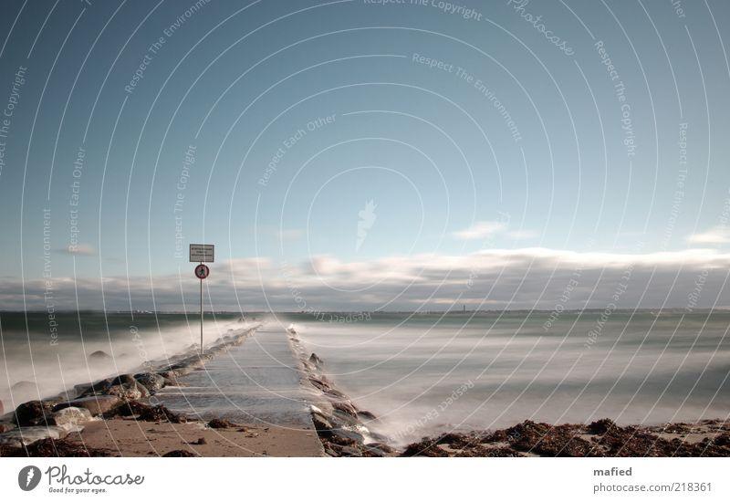 Don't Walk! Natur Wasser Himmel weiß Meer grün blau Strand Wolken Ferne Herbst grau Stein Wege & Pfade Sand Landschaft