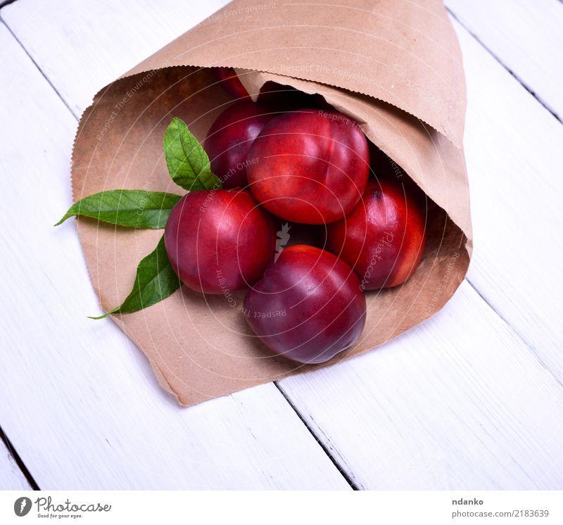 reife rote Pfirsiche Frucht Vegetarische Ernährung Diät Sommer Garten Natur Papier frisch natürlich saftig grün weiß Hintergrund Lebensmittel Ackerbau organisch