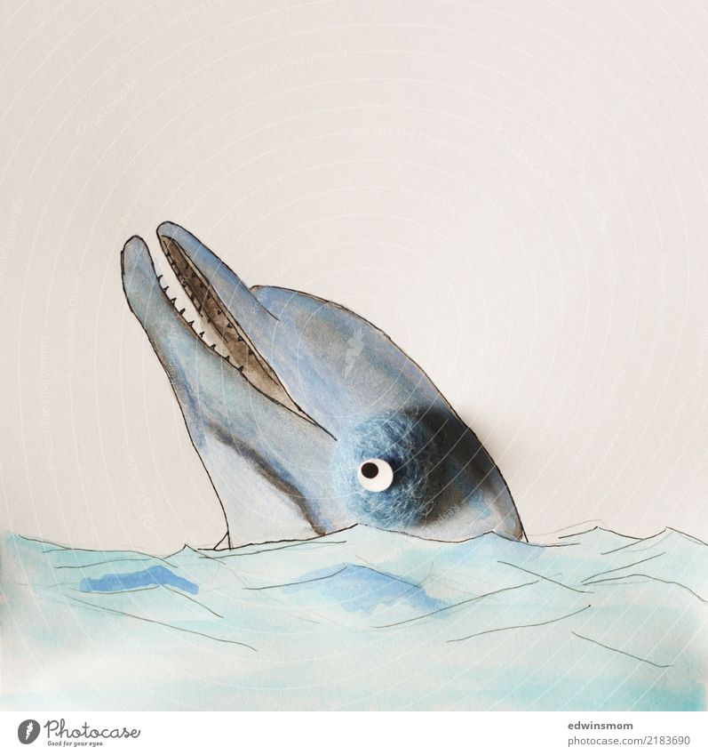 Delphin Freizeit & Hobby zeichnen Natur Meer Tier Wildtier Delphine 1 Papier Dekoration & Verzierung Blick Schwimmen & Baden Spielen warten frei Freundlichkeit