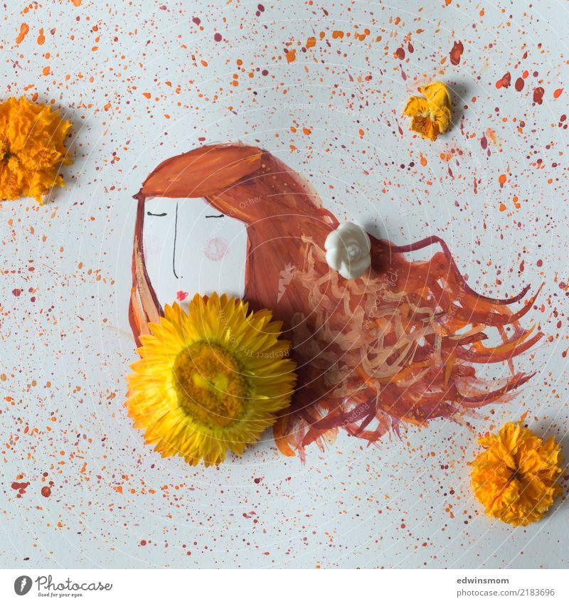 Hallo Herbst Freizeit & Hobby zeichnen feminin Junge Frau Jugendliche Natur Pflanze Blüte Papier Dekoration & Verzierung träumen verblüht warten frei natürlich