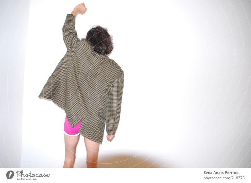 freitag^^ Lifestyle Stil Freude Glück maskulin Gesäß Beine 1 Mensch 18-30 Jahre Jugendliche Erwachsene Jacke Unterwäsche Unterhose brünett langhaarig Locken