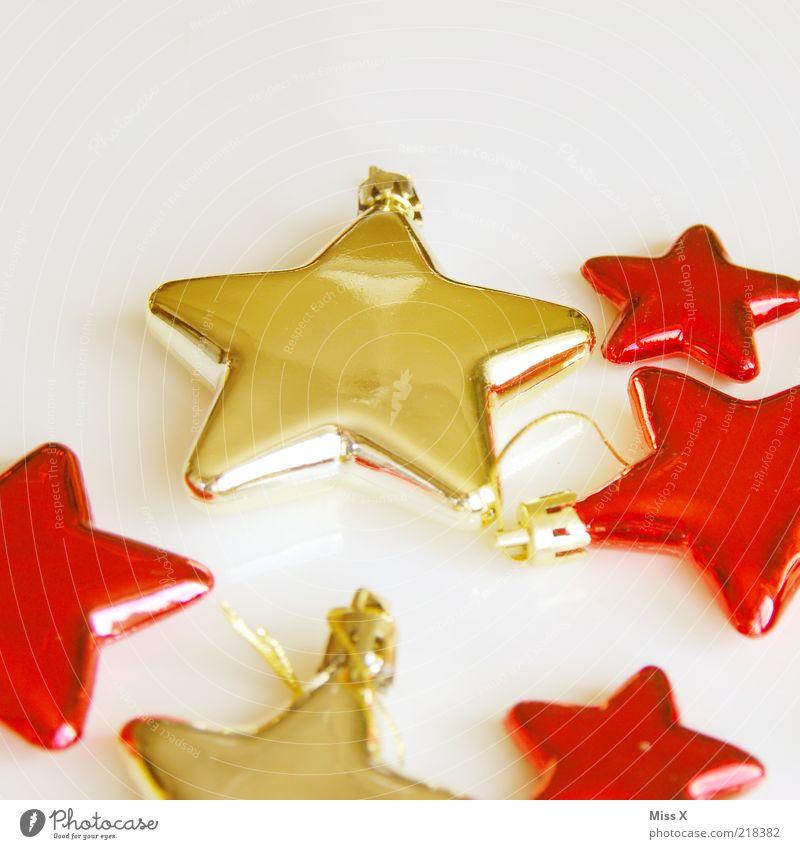 Glassterne Dekoration & Verzierung eckig glänzend gold rot zerbrechlich Weihnachtsdekoration Weihnachtsstern Stern (Symbol) Baumschmuck Weihnachten & Advent