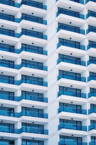 Hochhausfassade Haus Architektur Gebäude Fassade Wohnung modern neu Hotel Balkon heimwärts Domizil Resort Unterkunft