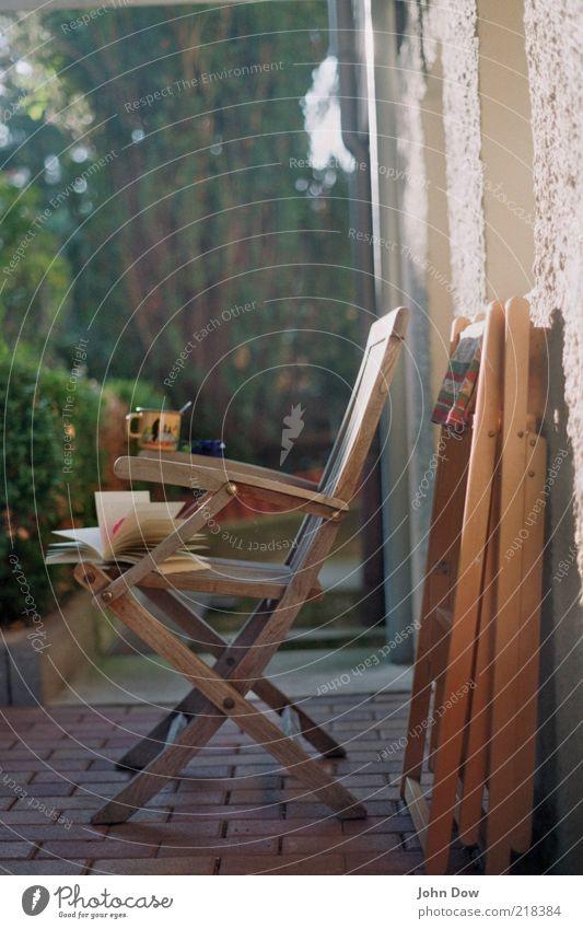 lesegenuss Getränk trinken Wohlgefühl Zufriedenheit Erholung ruhig Freizeit & Hobby Buch Schönes Wetter Pflanze Sträucher Garten Bildung Idylle Tasse Klappstuhl