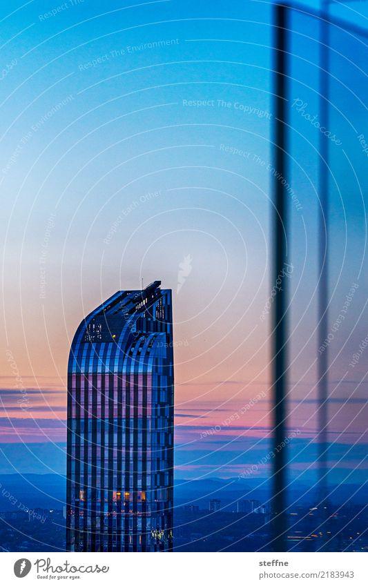 wohnturm Stadt New York City Manhattan Sonnenuntergang Hochhaus Metall Farbfoto Außenaufnahme Textfreiraum oben Textfreiraum Mitte Hintergrund neutral Dämmerung