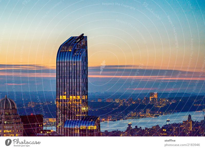 NYC2 New York City Skyline USA Hochhaus Stadt Manhattan Hudson River Sonnenuntergang New Jersey Schönes Wetter