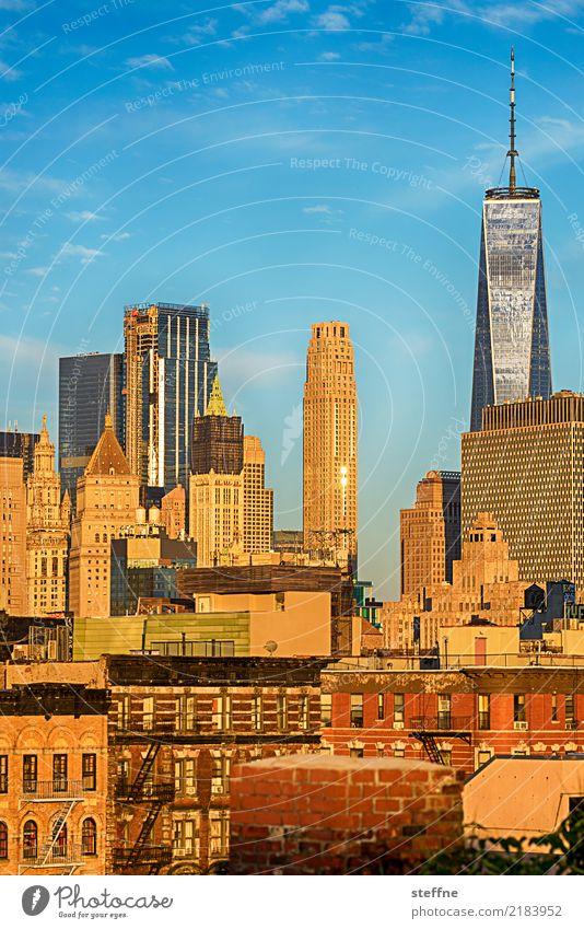 1776 Sonnenaufgang Sonnenuntergang Sonnenlicht Frühling Sommer Schönes Wetter Stadt Hochhaus USA Manhattan World Trade Center One World Trade Center