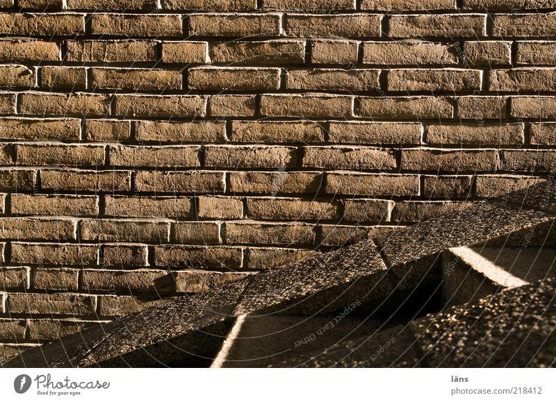 Streiflicht Bauwerk Mauer Wand Treppe Wege & Pfade Stein Backstein braun Schlagschatten Fuge Farbfoto Gedeckte Farben Außenaufnahme Menschenleer