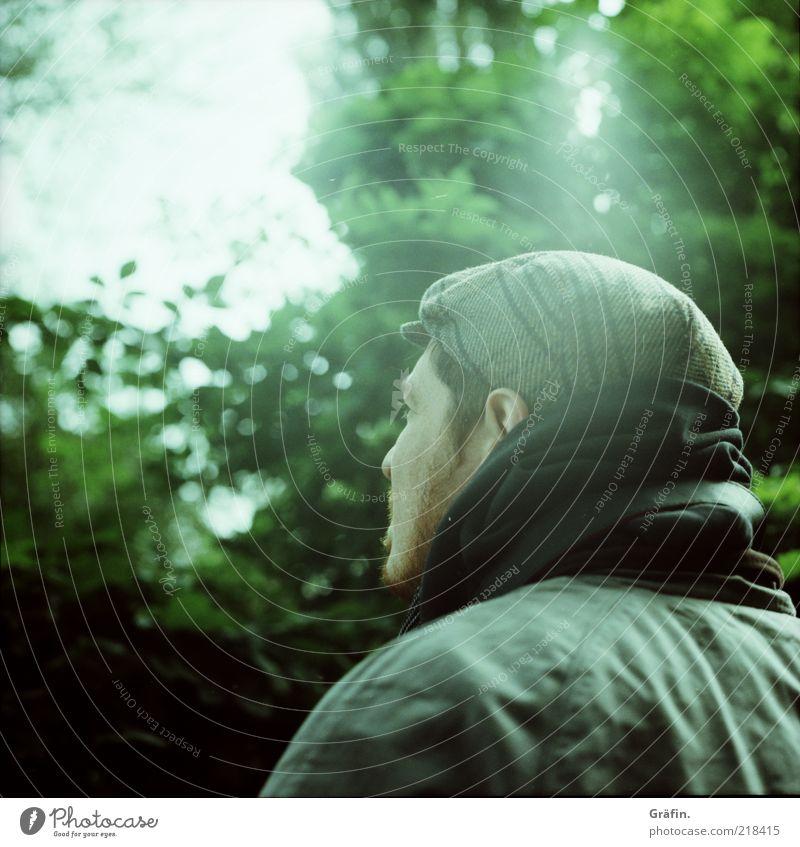 [HH 10.1] Thinking Mann Baum grün Herbst Denken warten Erwachsene Hoffnung beobachten nachdenklich Mütze Erwartung einzeln blenden Lomografie Licht