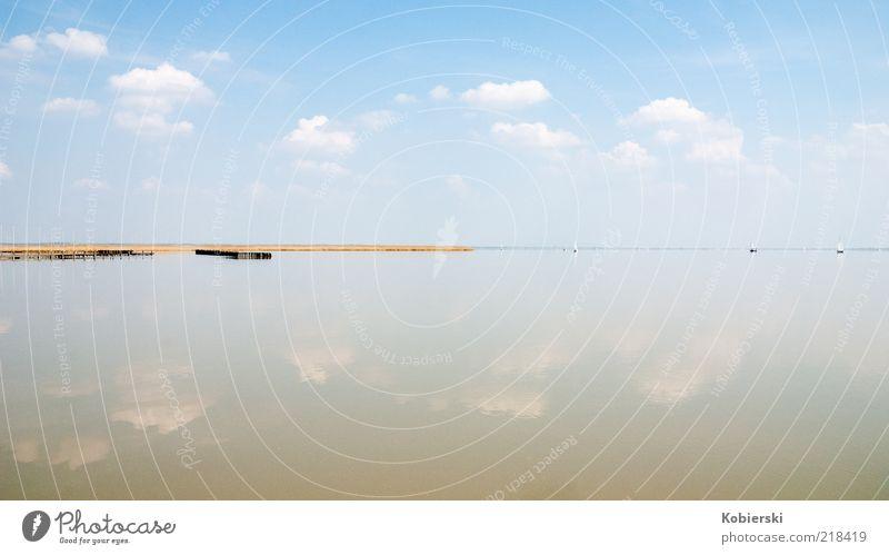 Neusiedler See blau Wasser Einsamkeit ruhig Erholung gelb See Horizont Wasserfahrzeug braun Zufriedenheit nass Tourismus ästhetisch Idylle Schönes Wetter