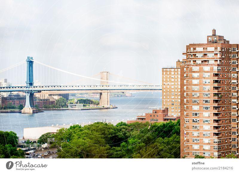 Wohnen in der Stadt V Haus Aussicht New York City Manhattan Manhattan Bridge Brooklyn Bridge Häusliches Leben Miete Farbfoto Außenaufnahme Menschenleer