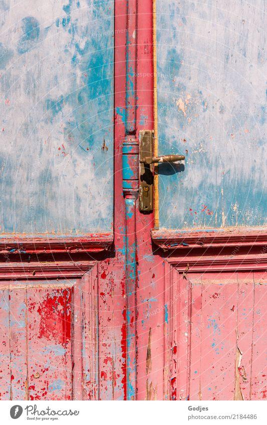 Closed Door Liapades Korfu Dorf Menschenleer Architektur Tür Griff historisch schön einzigartig kaputt Neugier blau braun orange rosa rot Sicherheit Schutz