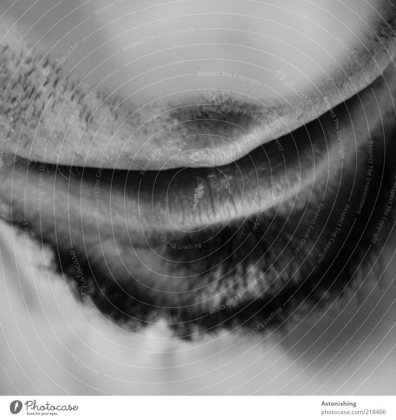 Nase-weiß Mensch maskulin Haut Gesicht Mund Lippen Bart 1 kurzhaarig Dreitagebart Behaarung schwarz Gesichtsausdruck neutral Oberlippe Unterlippe Kinn