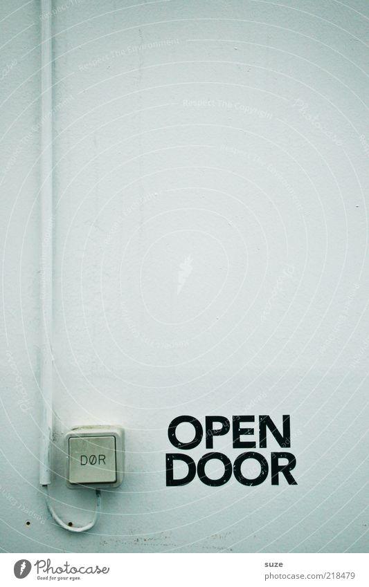 Please weiß Wand Tür Fassade Kabel Schriftzeichen Autotür Hinweisschild Typographie Schalter Hinweis elektrisch aufmachen Licht Symbole & Metaphern Technik & Technologie