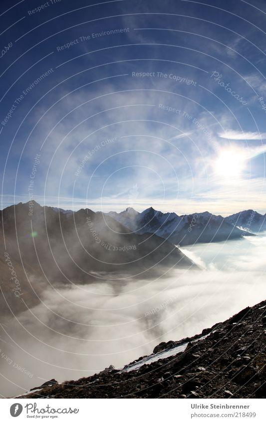 Sonntagsruhe Ferien & Urlaub & Reisen Freiheit Berge u. Gebirge Natur Landschaft Luft Himmel Herbst Schönes Wetter Nebel Schnee Alpen Schneebedeckte Gipfel