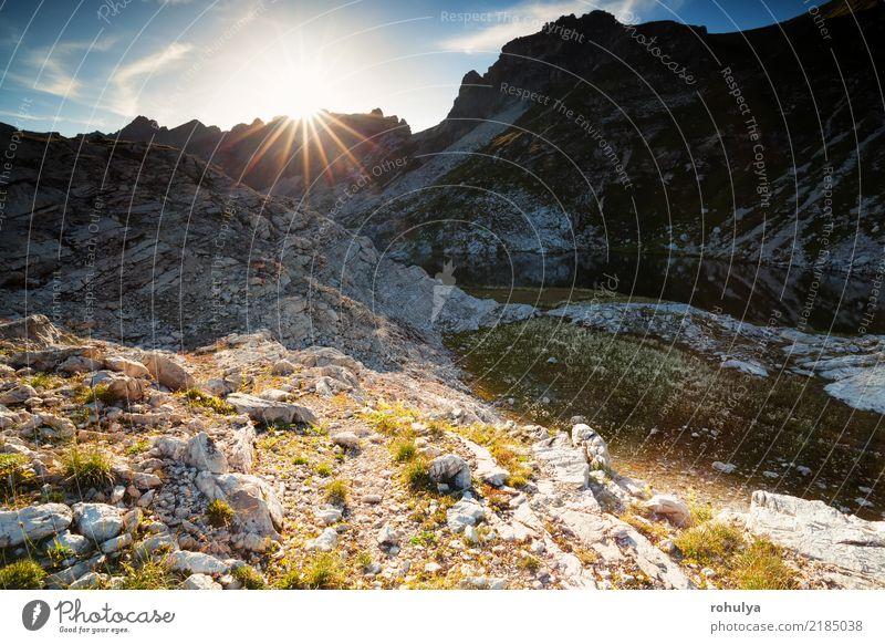 Sonnenlicht über Bergsee Laufbichelsee in Bergen Ferien & Urlaub & Reisen Berge u. Gebirge wandern Natur Landschaft Himmel Sonnenaufgang Sonnenuntergang Felsen