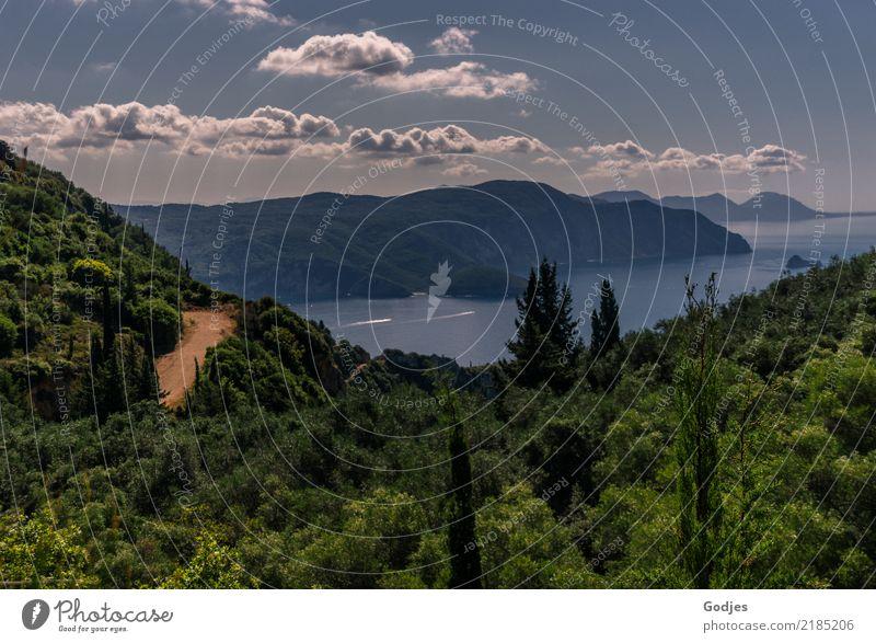 Blick von Angelokastro II Natur Landschaft Pflanze Wasser Himmel Wolken Horizont Sommer Baum Sträucher Hügel Küste Bucht Korfu Sehenswürdigkeit entdecken