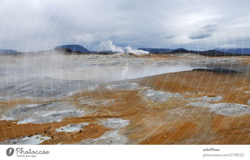 Teufelsküche Landschaft Ferne außergewöhnlich Erde Wind bedrohlich Urelemente heiß Sturm Island Dunst Vulkan schlechtes Wetter Wasserdampf ursprünglich