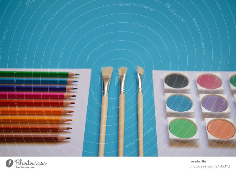be creative Kunst Freizeit & Hobby ästhetisch Ordnung Kreativität Fröhlichkeit Lebensfreude warten Papier Dinge malen Gemälde türkis Arbeitsplatz Schreibstift