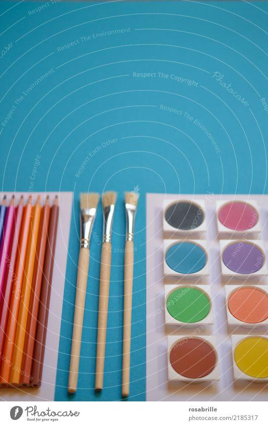 creative Ordnung Kunst Freizeit & Hobby ästhetisch Kreativität Fröhlichkeit Lebensfreude warten Papier Dinge malen Gemälde türkis Arbeitsplatz Schreibstift