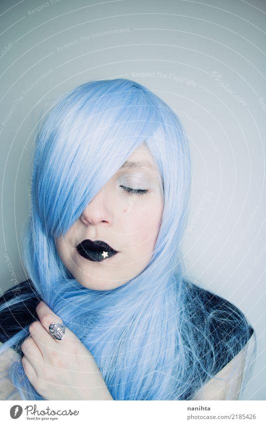 Junge verträumte Frau mit blauen Haaren Stil Design schön Haare & Frisuren Haut Gesicht Schminke Lippenstift Mensch feminin Junge Frau Jugendliche 1 Kunst
