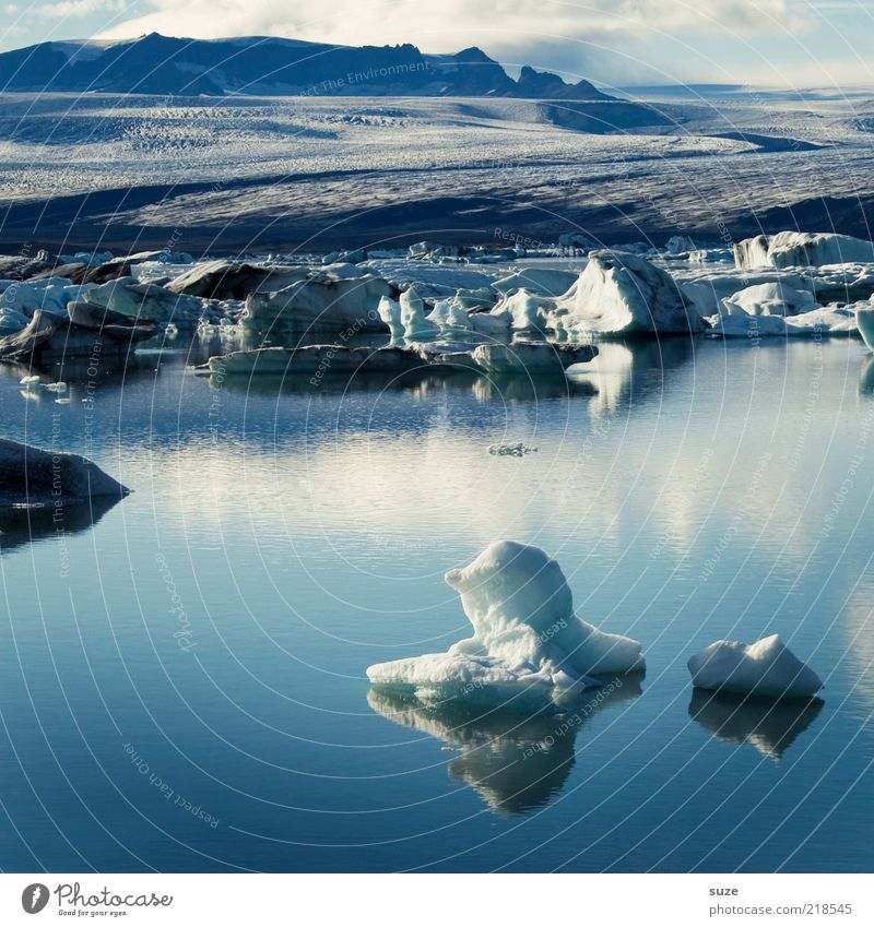 Scholli Natur blau Wasser Ferien & Urlaub & Reisen schön Sommer Einsamkeit ruhig Landschaft Umwelt kalt See Stimmung Eis außergewöhnlich Klima