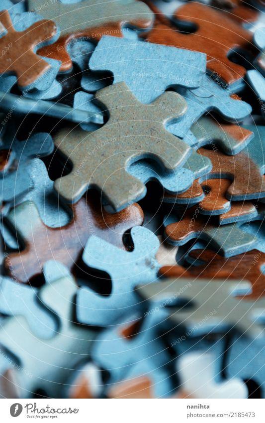 Puzzlespielstückmuster Freizeit & Hobby Spielen Brettspiel Teile u. Stücke authentisch eckig einfach Unendlichkeit klein Neugier retro klug braun grau türkis