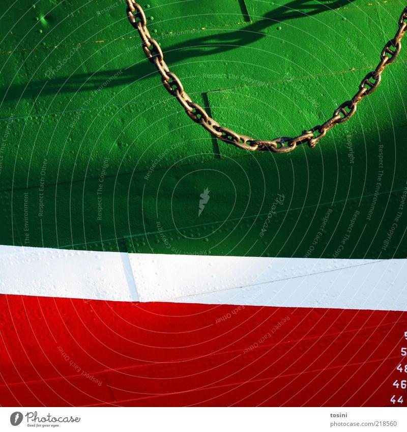 Steuerbord II Verkehrsmittel grün rot Wasserfahrzeug Kette Ziffern & Zahlen Metall Lack Anstrich Detailaufnahme Teile u. Stücke Ankerkette Schifffahrt
