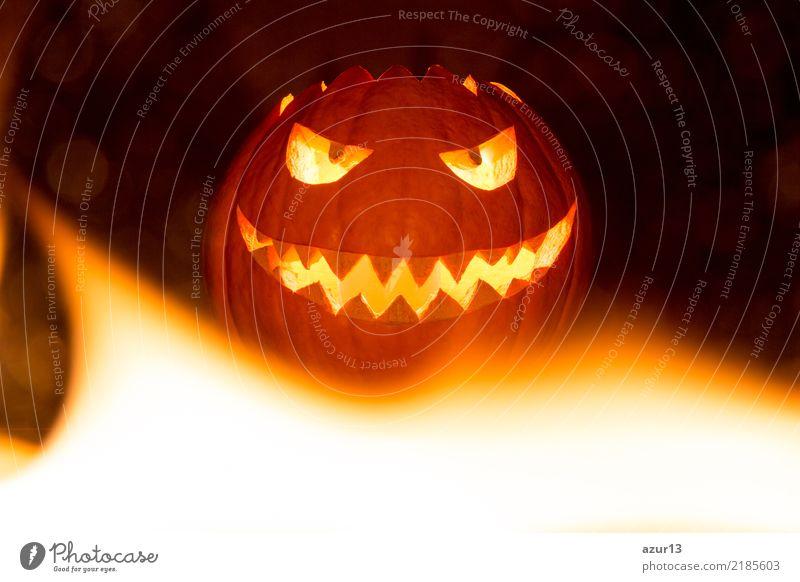 Fire flames halloween pumpkin smile with hot burning eyes mouth Freude Nachtleben Entertainment Party Feste & Feiern Halloween Kunst Kunstwerk Kultur Zeichen