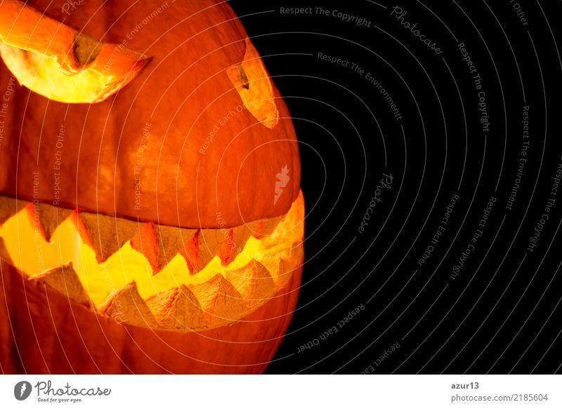 Side view halloween pumpkin smile with fire burning eyes mouth Lifestyle Freude Nachtleben Entertainment Party Feste & Feiern Halloween Kunst Kunstwerk Kultur