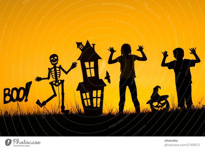 Glücklicher Bruder und Schwester, die draußen zur Sonnenuntergangzeit spielt. Lifestyle Freude Spielen Haus Feste & Feiern Halloween Kind Mensch Junge