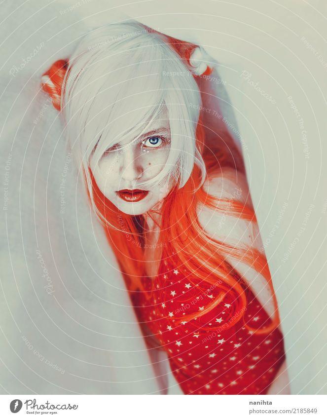 Künstlerisches Portrait einer jungen Frau in weißem und in Orange Mensch feminin Junge Frau Jugendliche 1 18-30 Jahre Erwachsene Kunst Kunstwerk Kultur
