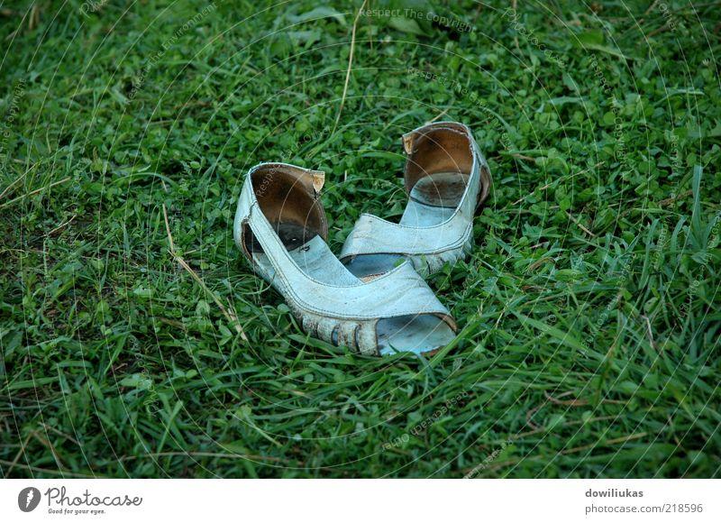 Alte Damen-Sandalen Sommer Sommerurlaub Garten Natur Gras Park Wiese Schuhe Flipflops Hausschuhe Leder alt dreckig hell natürlich trist feminin blau mehrfarbig