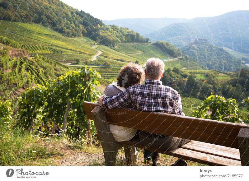 ein Seniorenpaar sitzt, gemütlich auf einer Bank im Weinberg und schaut ins Ahrtal. Er hat liebevoll den Arm um sie gelegt Leben Erholung