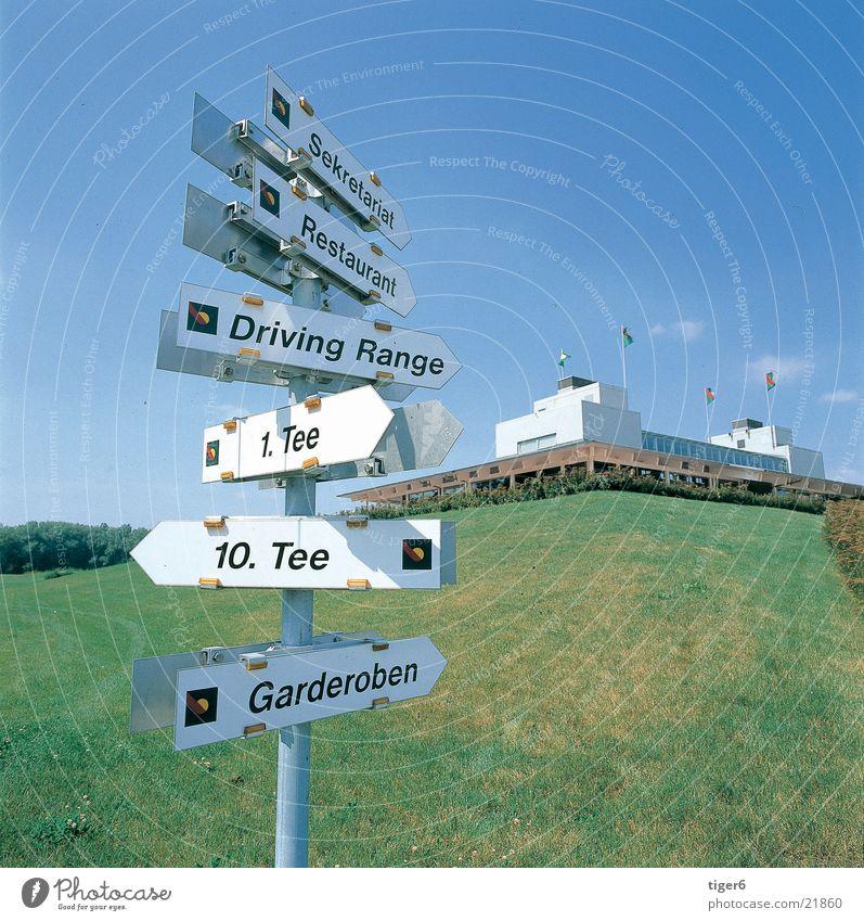 Wegweiser Natur Sport Platz Golf