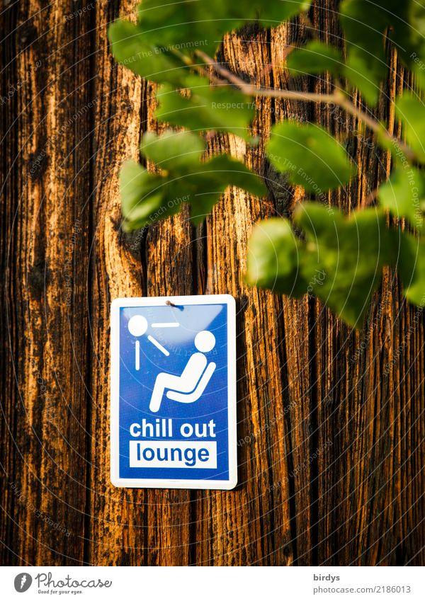 Chillplatz Gesundheit Erholung ruhig Party Lounge Pflanze Holzwand Zeichen Schriftzeichen Schilder & Markierungen Hinweisschild Warnschild genießen